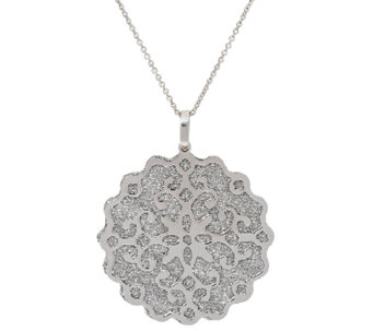 "Vicenza Silver Sterling Pave' Glitter Scroll Overlay Pendant with 18"" Chain - J296226"
