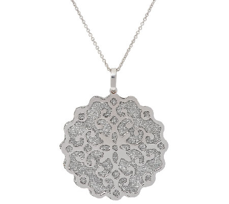"Italian Silver Sterling Pave' Glitter Scroll Overlay Pendant with 18"" Chain"