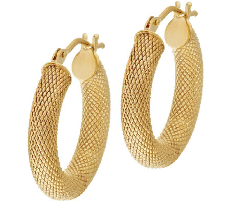 "VicenzaGold 3/4"" Textured Round Hoop Earrings 14K Gold"