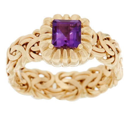 """As Is"" 14K Gold Square Cut Byzantine Ring"