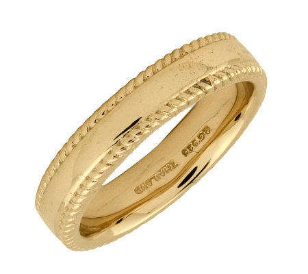 Simply Stacks Sterling 18K Yellow Gold-Pltd 4.25mm Ribbed Ring