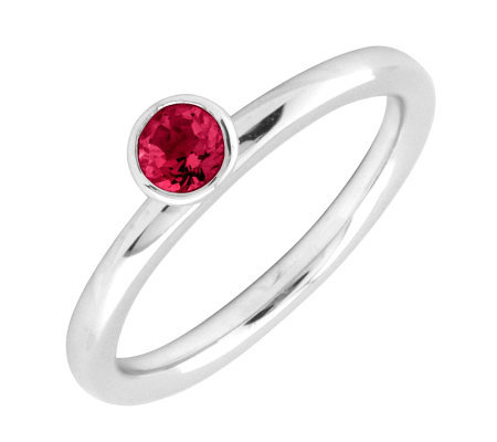 Simply Stacks Sterling 4mm Created Ruby Sol. Stackable Ring