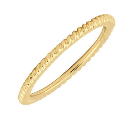 Simply Stacks 18K Yellow Gold-Plated Sterling Ring-Rope Design