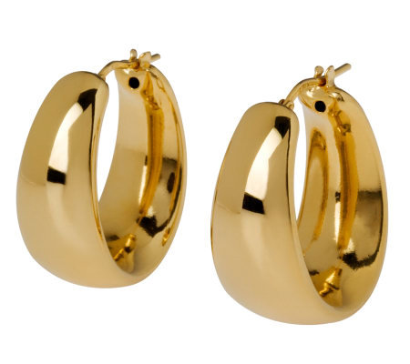 Veronese 18K Clad High Polished Graduated HoopEarrings