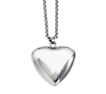 "Stainless Steel Polished Large Heart Pendant with 24"" Chain - J311226"