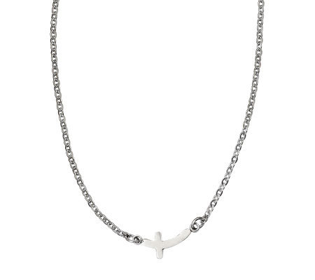"Stainless Steel 18"" Curved Horizontal Cross Necklace"