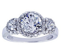 Diamonique Sterling Three-Stone Halo Ring - J311926