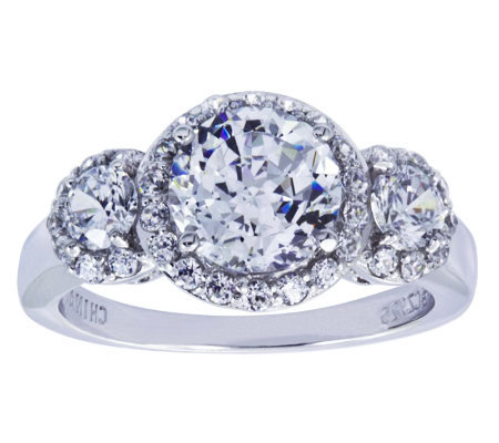 Diamonique Sterling Three-Stone Halo Ring