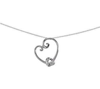 "Sentimental Expressions Sterling 18"" LoveknotsHeart Necklace - J312126"