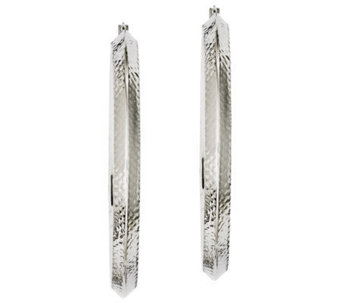 "Stainless Steel 2-1/2"" Textured Knife Edge Hoop Earrings - J312226"