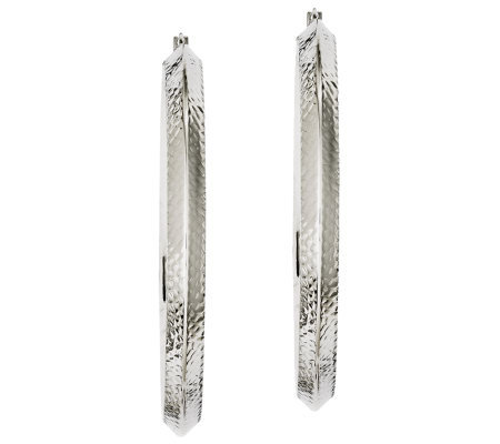 "Stainless Steel 2-1/2"" Textured Knife Edge Hoop Earrings"