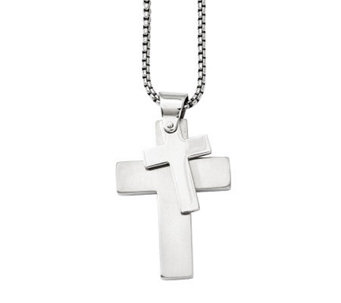 "Forza Men's Stainless Steel Double Cross Pendant w/ 24"" Chain - J313126"