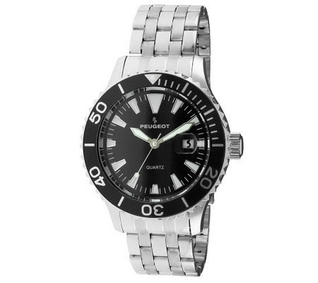 Peugeot Men's Silvertone Ratchet Sport Bezel Watch