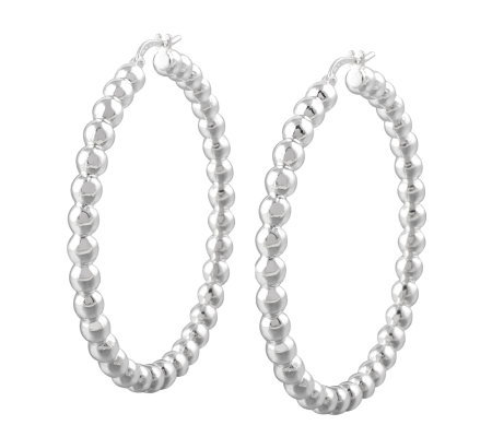 "UltraFine Silver 1-7/8"" Polished Bead Hoop Earrings"