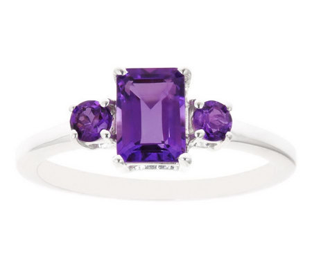 Sterling Three-Stone Gemstone Ring