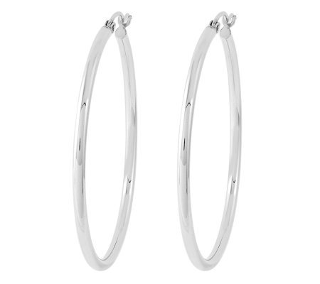 "Sterling 1-1/2"" Polished Round Hoop Earrings"