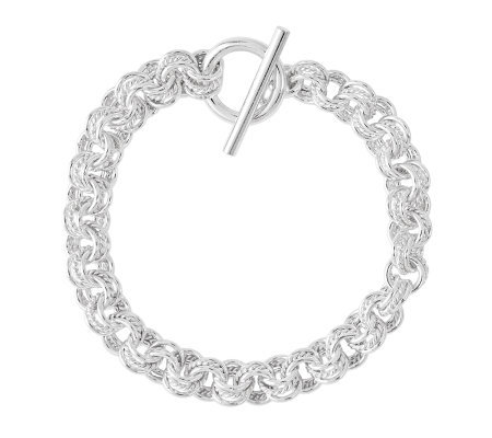 "Sterling 7-1/2"" Polished & Textured Rolo Link Toggle Bracelet"