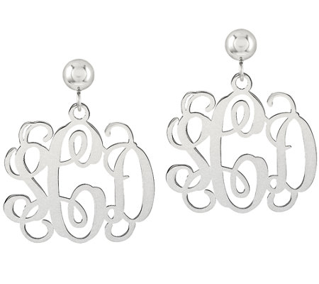 Sterling Polished Script Monogram Dangle Earrings