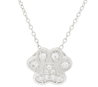 "Diamonique Paw Print Slide with 18"" Chain, Sterling - J318026"