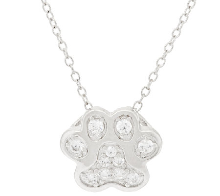 "Diamonique Paw Print Slide with 18"" Chain, Sterling"