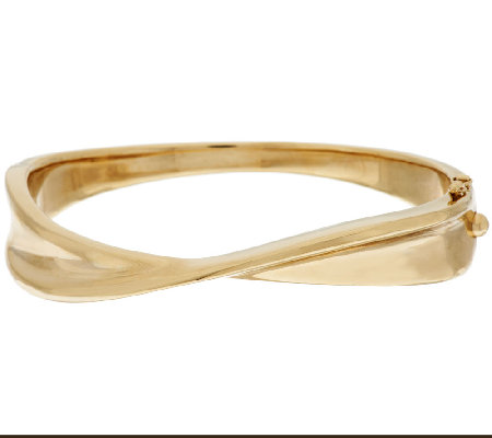 14K Gold Small Polished Twisted Hinged Bangle