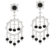Judith Ripka Sterling & Black Spinel Drop Earrings
