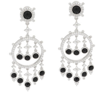 Judith Ripka Sterling & 8.35 cttw Black Spinel Dangle Earrings - J319926