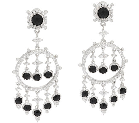 Judith Ripka Sterling & 8.35 cttw Black Spinel Dangle Earrings