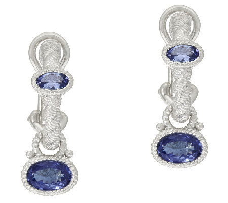 Judith Ripka Sterling Gemstone Hoop and Charm Earrings