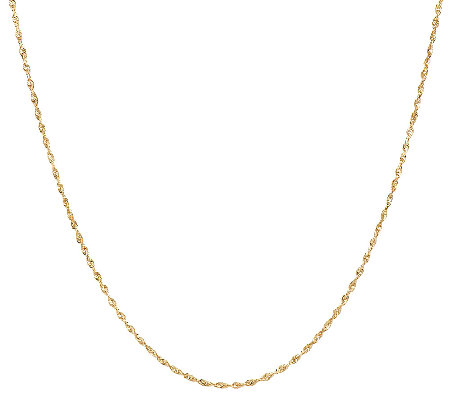 "18K Gold 16"" Polished Twisted Rope Chain Necklace, 2.4g"