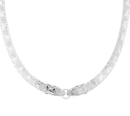 "UltraFine Silver 18"" Panther Head Riccio Necklace, 57.1g"