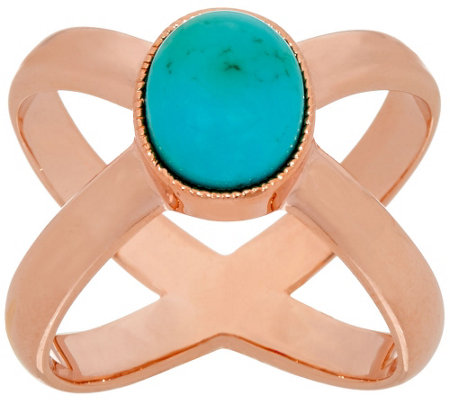 Bronze Turquoise X-Design Ring by Bronzo Italia