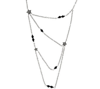 Sterling Silver Onyx Bead & Star 4 Strand Necklace by American West - J321526