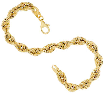 Vicenza Gold Textured Fancy Rope Bracelet, 5.0g - J323226