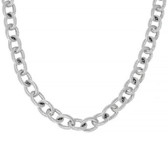 "Stainless Steel 18"" Textured Rope Link Necklace - J323926"
