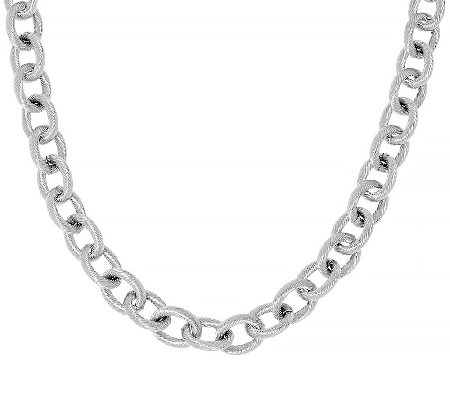 "Stainless Steel 18"" Textured Rope Link Necklace"