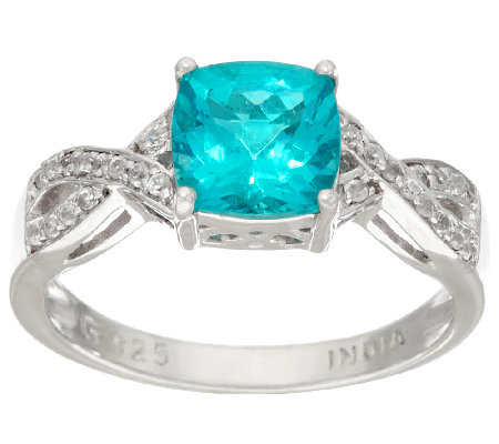 Cushion Cut Blue Apatite & White Zircon Sterling Silver Ring, 1.50 cttw