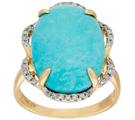 Sleeping Beauty Turquoise & Diamond Bold Ring, 14K Gold 1/10 cttw