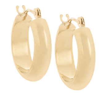 18K Gold Polished Round Huggie Hoop Earrings - J325026