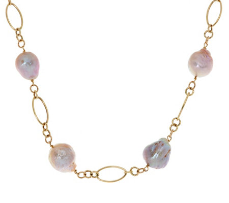 "Honora Ming Cultured Pearl 18"" Multi-link Necklace 14K Gold, 4.0g"