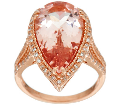 Pear Shaped Morganite & Diamond Ring 14K Gold 7.50 ct