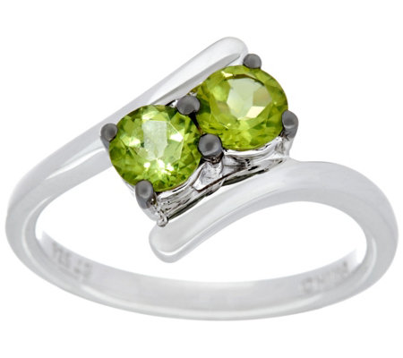 Semi-Precious Gemstone Two Stone Sterling Silver Ring, 0.80 cttw