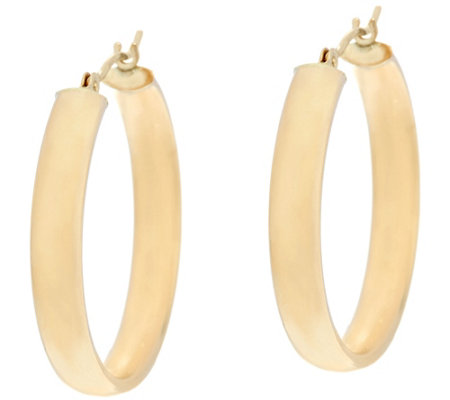 "14K Gold 1"" Round Polished Wedding Band Hoop Earrings"