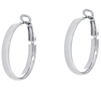 "Sterling Silver 1"" Omega Back Hoop Earrings by Silver Style - J331326"
