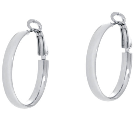 "Sterling Silver 1"" Omega Back Hoop Earrings by Silver Style"