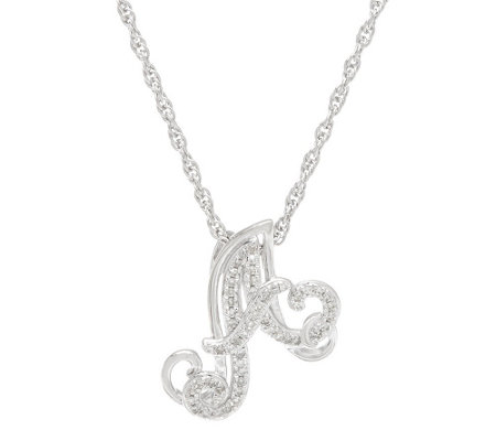 """As Is"" Script Initial Diamond Pendant, Sterling 1/8ct by Affinity"