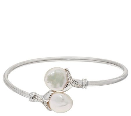 """As Is"" Honora Cultured Pearl 12.0mm Keshi Average Sterling Bangle"