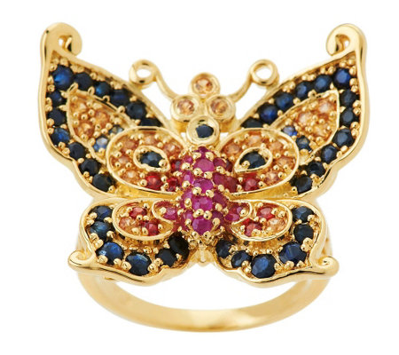 """As Is"" Smithsonian Paula Crevoshay Multi-gemstone Butterfly Ring"
