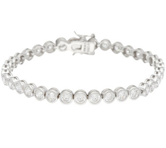 Diamonique Bezel Tennis Bracelet, Sterling or 14K Clad - J335026