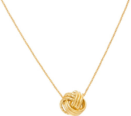 "14K Gold Textured Love Knot Pendant with 18"" Chain, 1.2g"